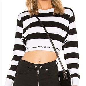RAG AND BONE SHARON STRIPE CROPPED CREW TOP S